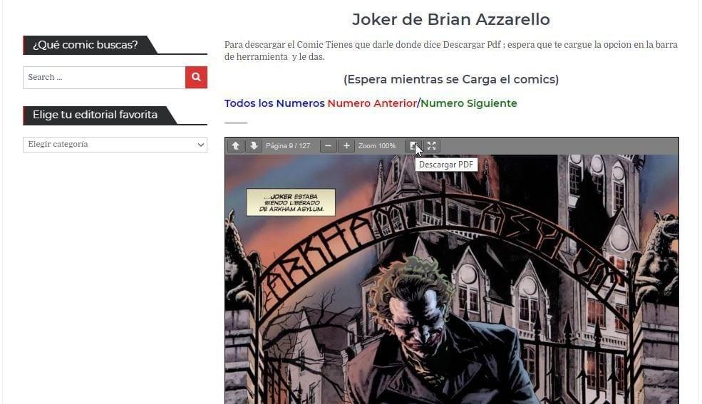 Tercer paso para descargar los comics