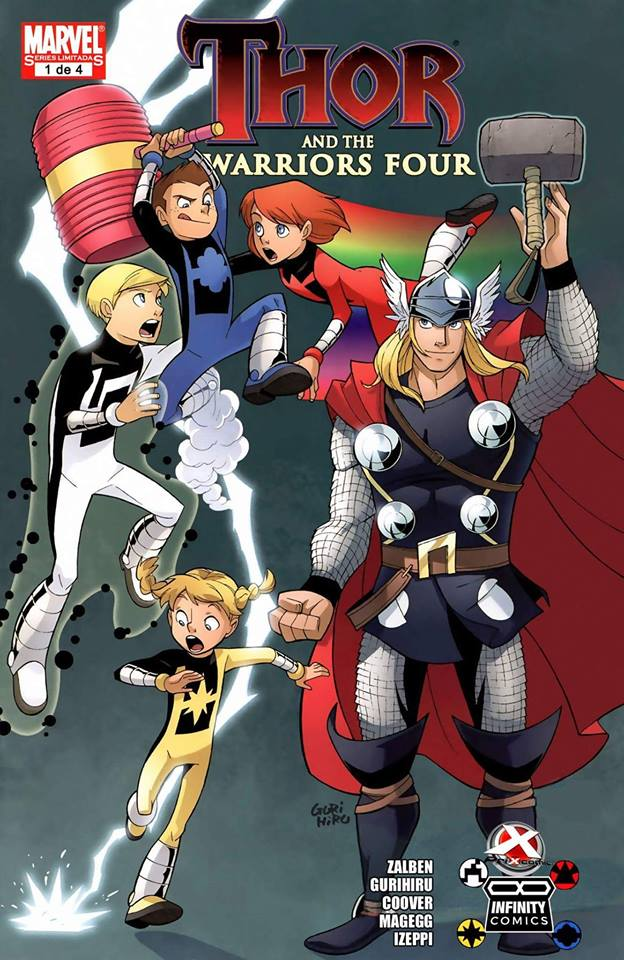 Comic Thor and the Warriors Four